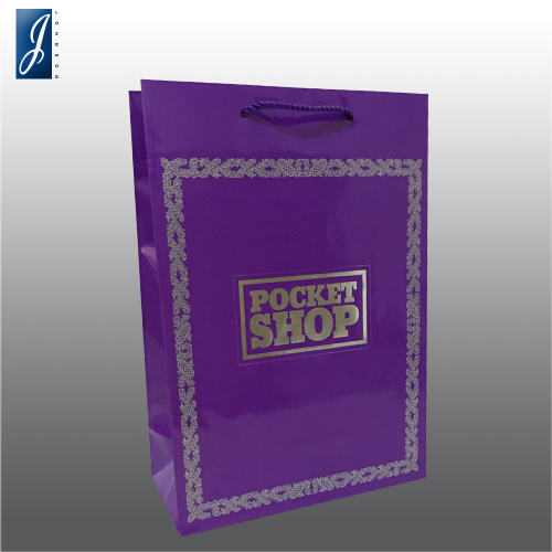Customized shopping paper bag for POCKET SHOP