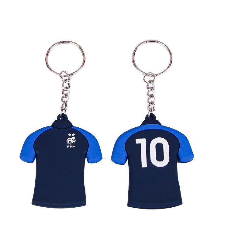 Cartoon 3D Soft Rubber Football Basketball Tshirt Keychain For Promotion