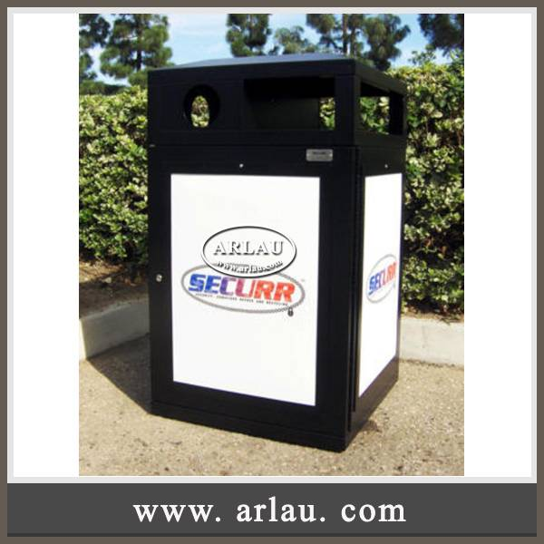Arlau Adverting metal waste bin, ad. outdoor trash bin