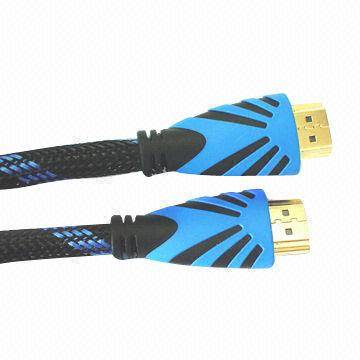 HDMI Cable with Double-color Molding, Gold Plating, Supports 1,080p Resolution, RoHS Compliant