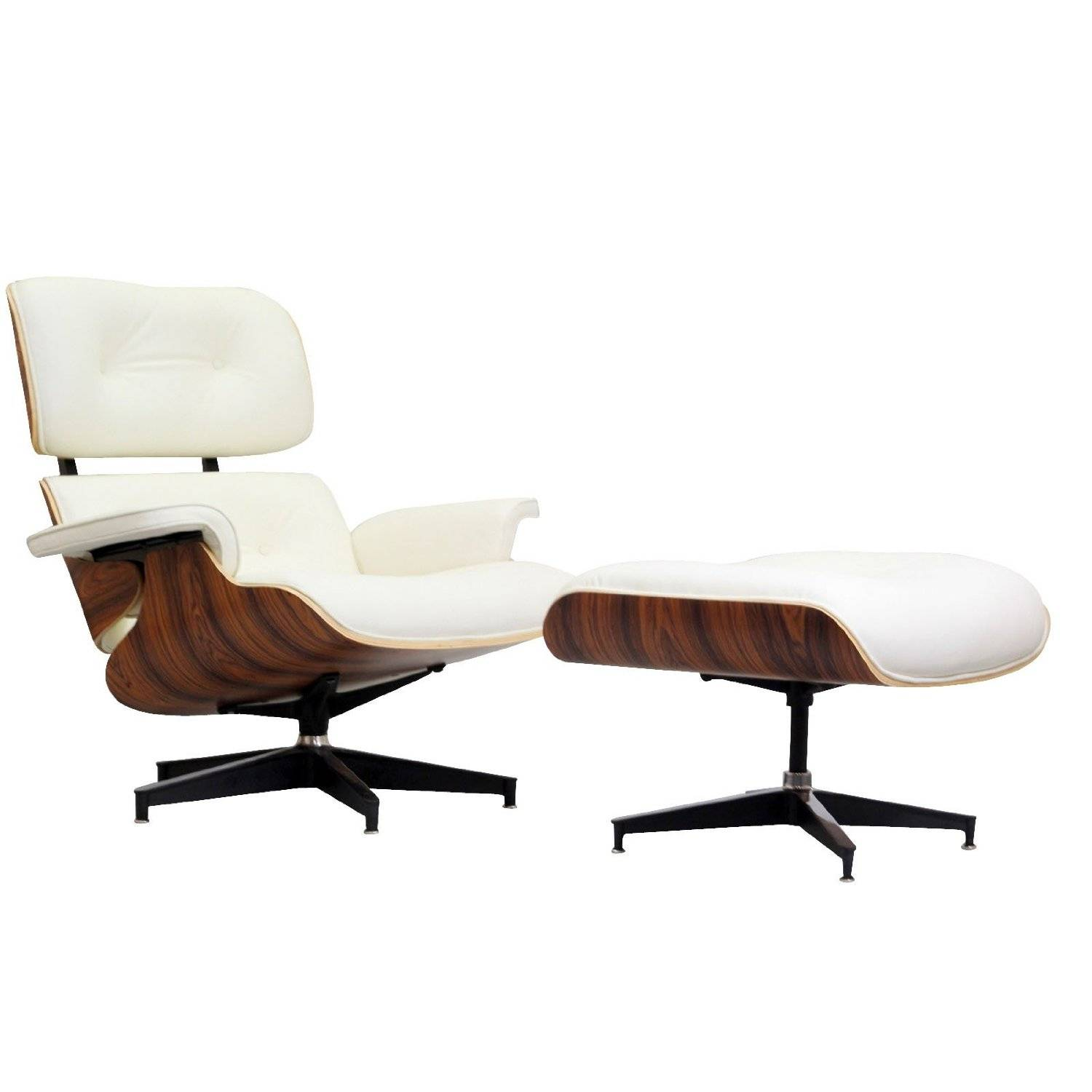 MLF leisurec eames Lounge Chair in White Leather and Palisander Wood