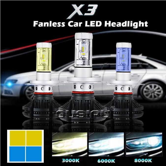 uto Spare Parts Car Headlight Led H4, 36W 8000LM Waterproof IP68 Led Lens Headlight X3 Led Headlight