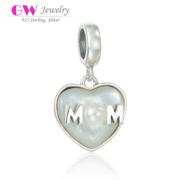Wholesale DIY Jewelry MOM Sterling Silver Dangle Charm With Pearl S189