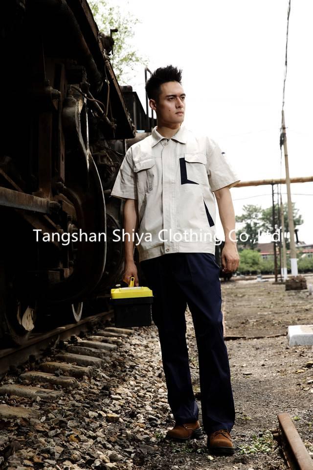 summer short sleeve beige with navy blue work suit