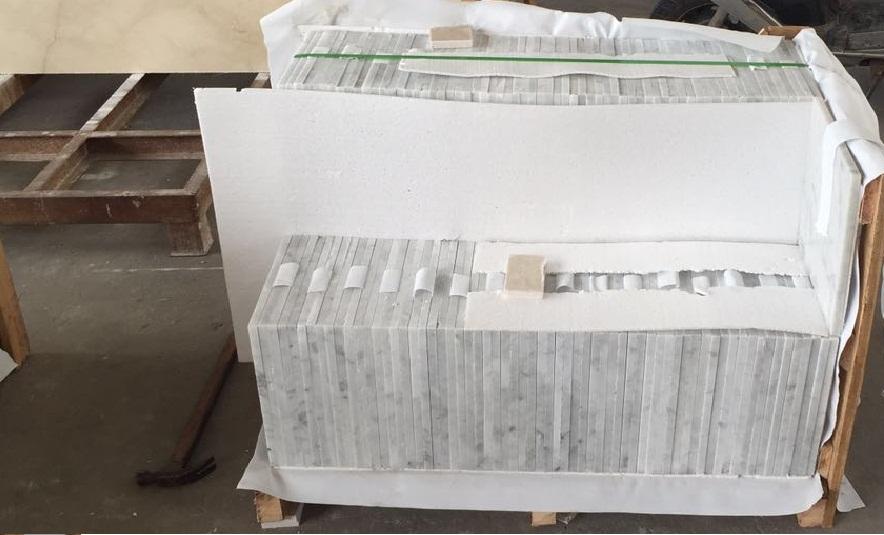Bianco carrara tiles packing