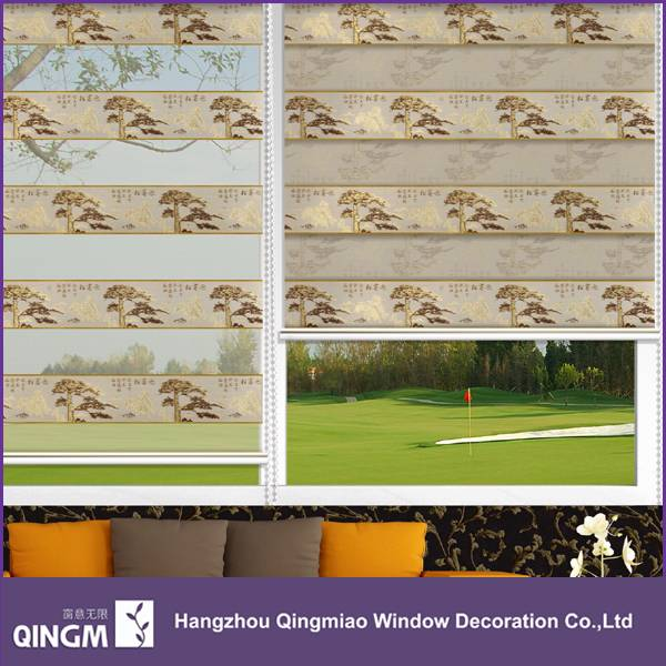 Cheap New Design Chinese Pattern Jacquard Blind Manual Operate Blind