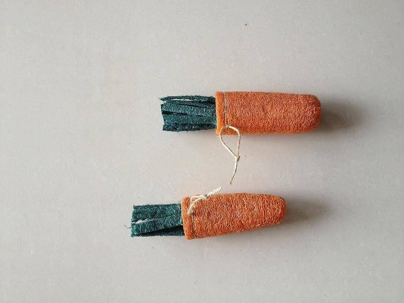 carrot toy made of loofah
