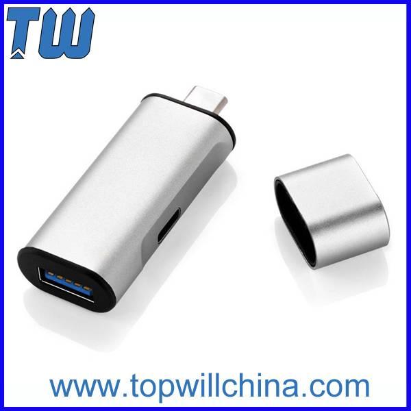 USB-C Type C to 1 Port USB 3.0 and 1 Port USB-C Usb Type-C Hub Charging and Data Sync