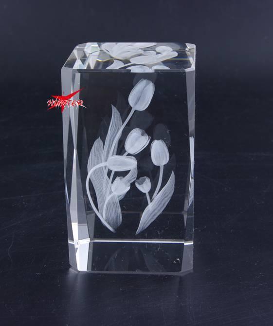 Tulip Flower Crystal,K9 3D laser Crystal Gift