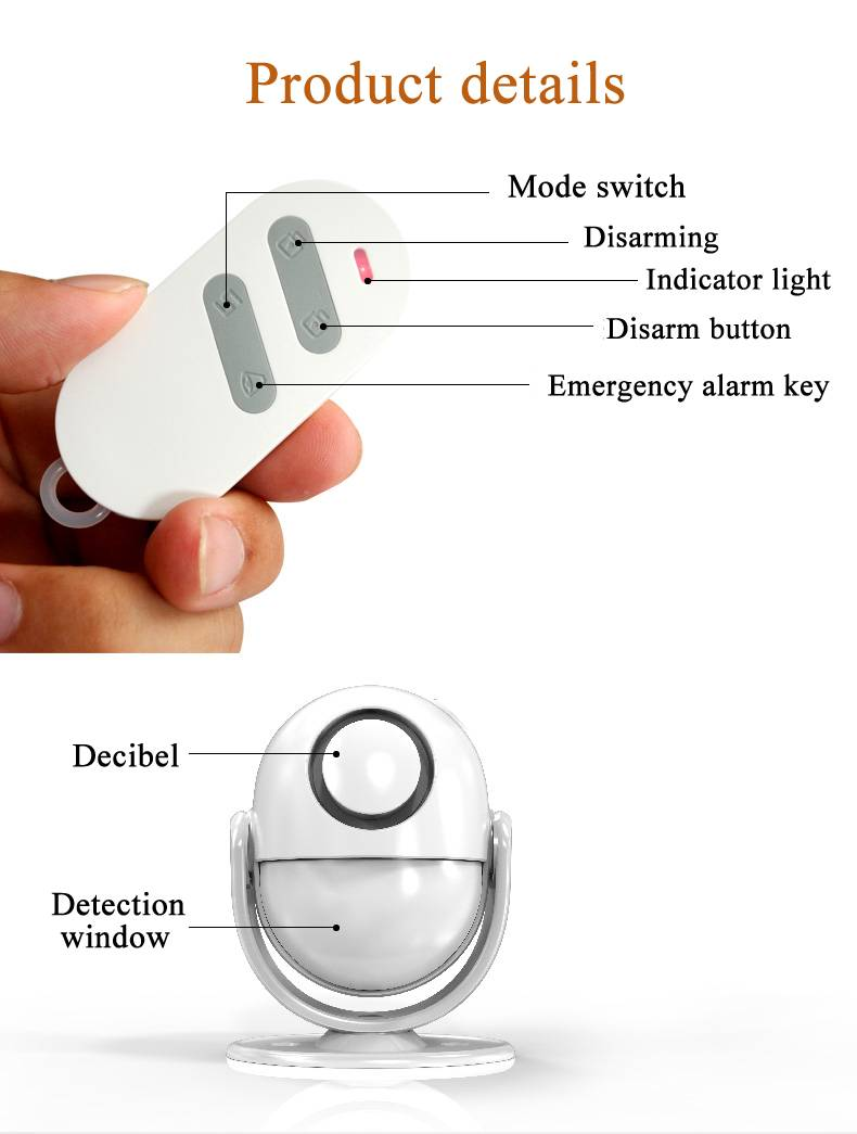 Wireless acoustic optic anti-theft alarm