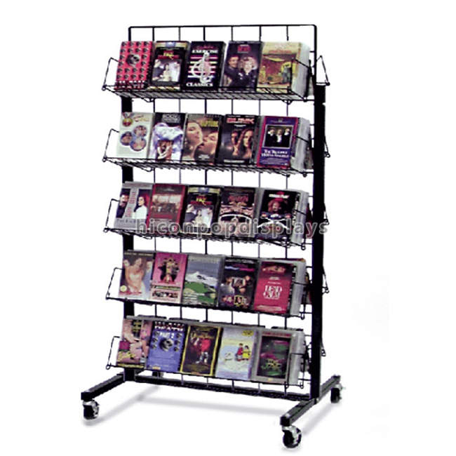 Double Sided 5-Layer Metal Wire Dvd CD Display Rack Movable
