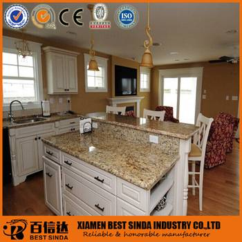 Natural granite Brazil Gold kitchen countertop with bar top