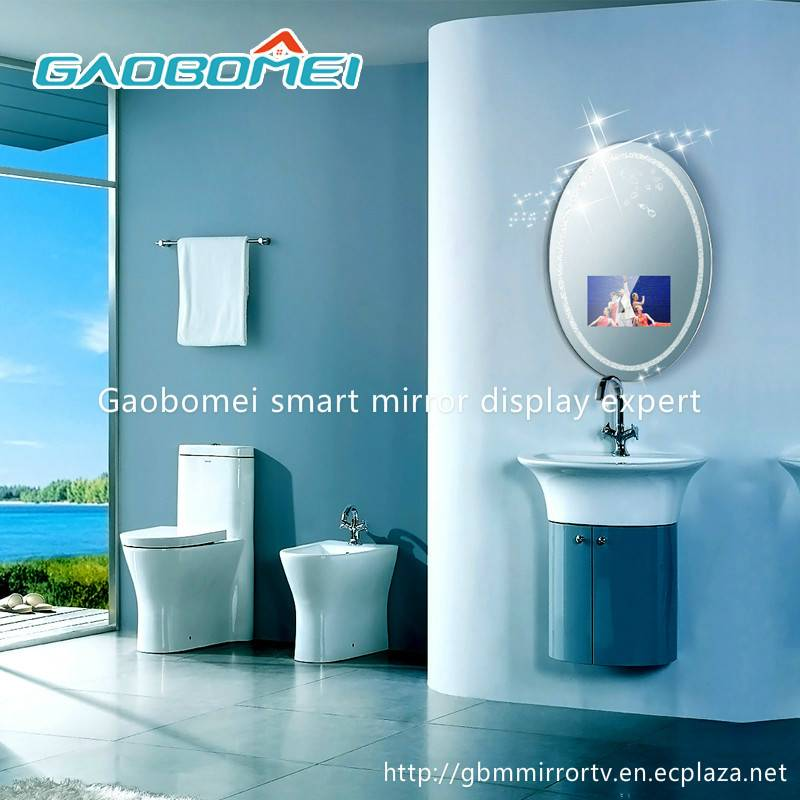 "Gaobomei 16"" AD Oval Smart Mirror Lcd Advertising Monitor magic mirror with ad management software/w"