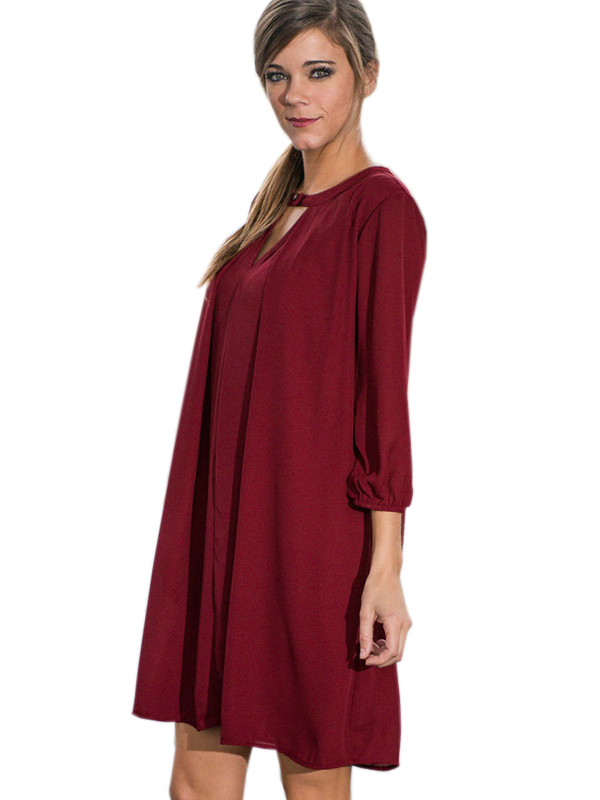 Fashion Wine Red Long Sleeve Women Dress Casual Dress