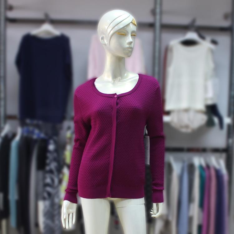 2017 Fall/Winter Double Collar Long Sleeve Womens Purple Honeycomb Cardigan Hidden Buttons Sweater