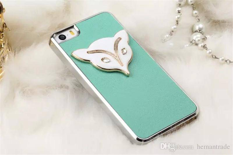 Genuine Leather Cellphone Case for Iphone5s Cellphone Cases with Metal Fox Head