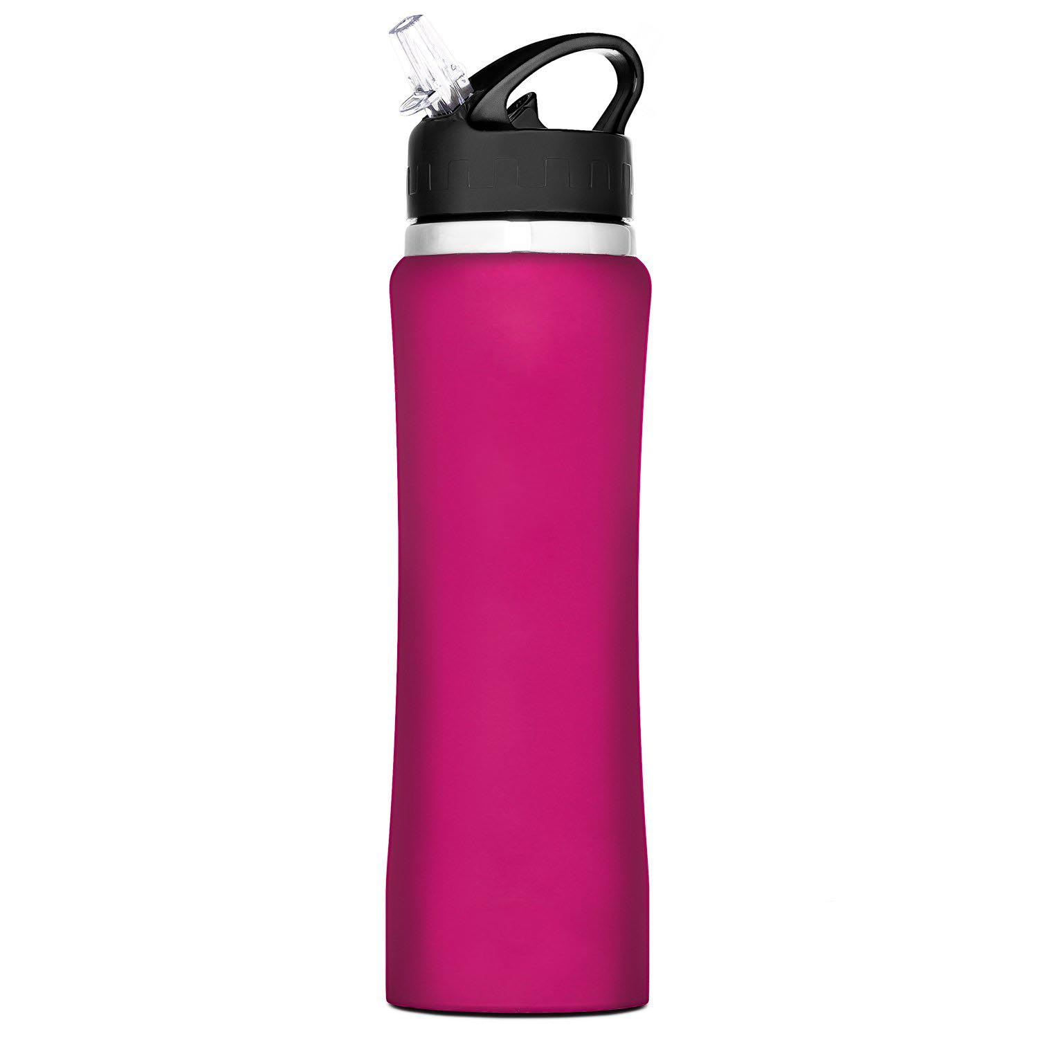 ZC-HD-C Stainless Steel Insulated Water Bottle with flip straw and sweat-proof rubber coating. This