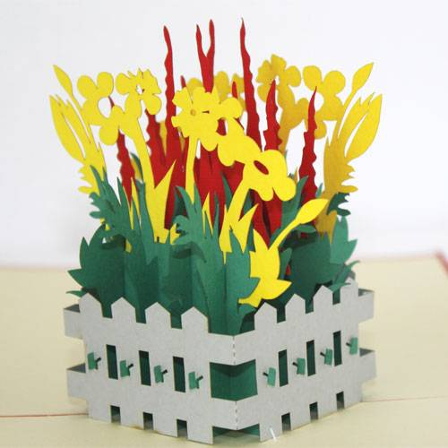 Small Flower Garden-Pop up-Kirigami-Laser cut-Paper cutting-Handmade-3D-Birthday card