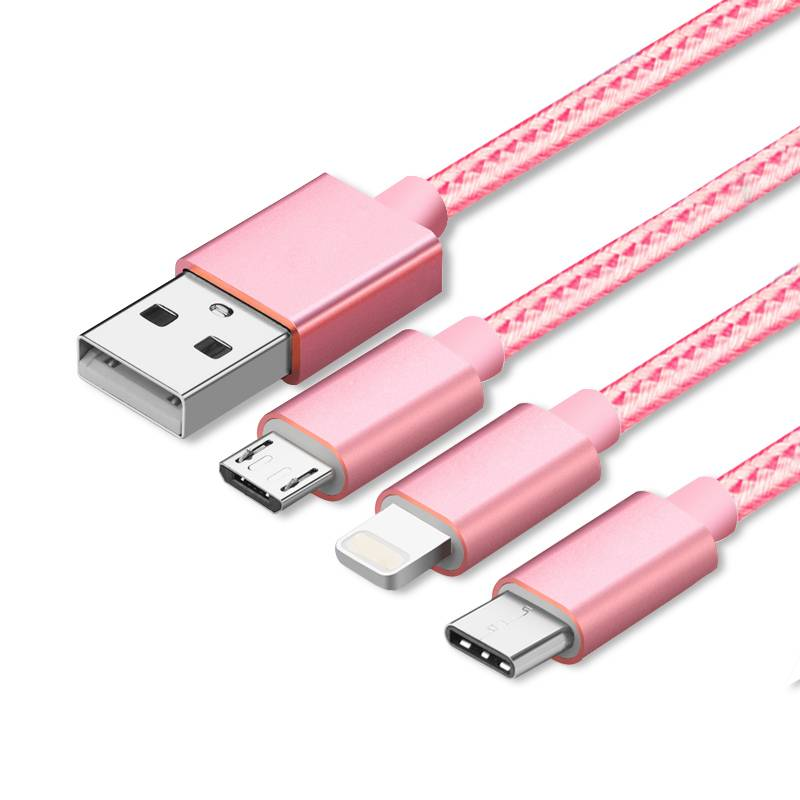 2016 Newest coloredl multi-purpose usb cable three in one usb cable