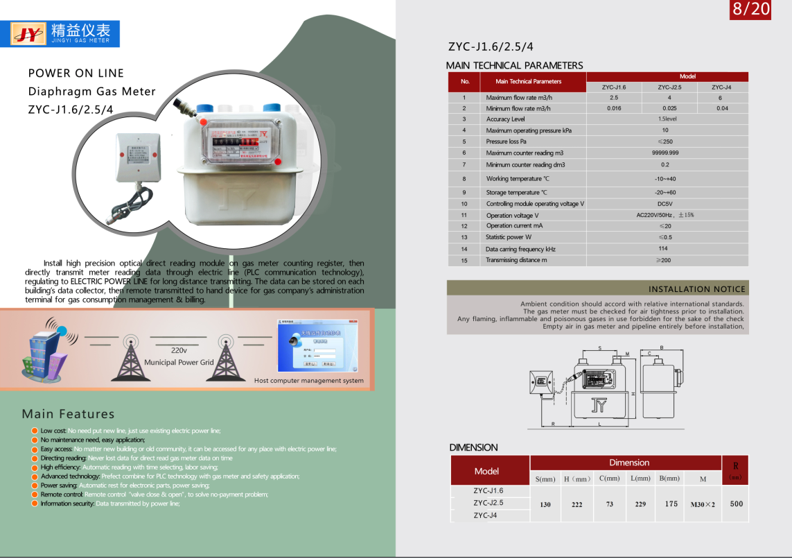 Power online diapharm gas Meter
