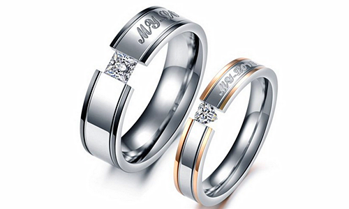 """My Love"" Cubic Zirconia Romantic Couple Rings"