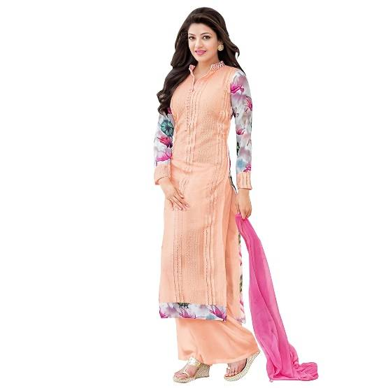 Shonaya Orange & Red Colour Designer Embroidered Faux Georgette Semi Stiched Salwar Suit  MFEKN-6200