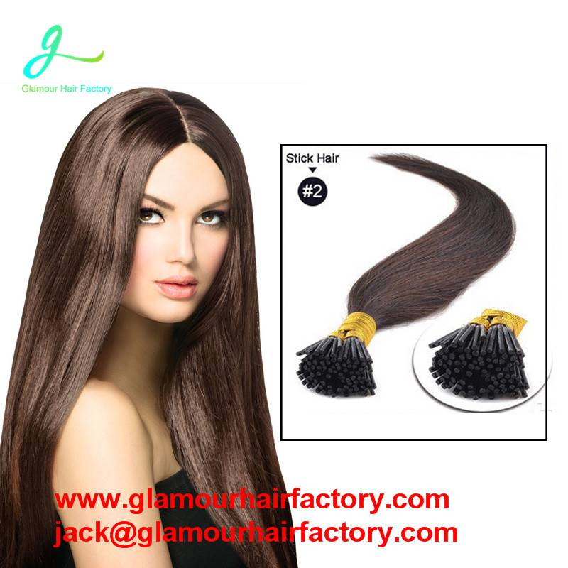 Keratin Stick Tip Remy Fusion Hair Extension Pre Bonded Double Drawn I Tip Human Hair Extensions
