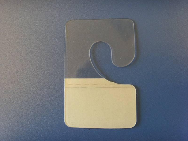 plastic self-adhesive hang tabs or hang hooks