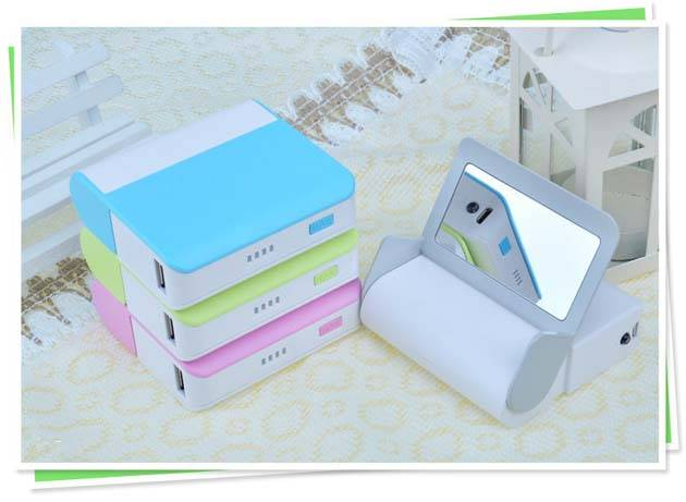 colorful power bank with mirror