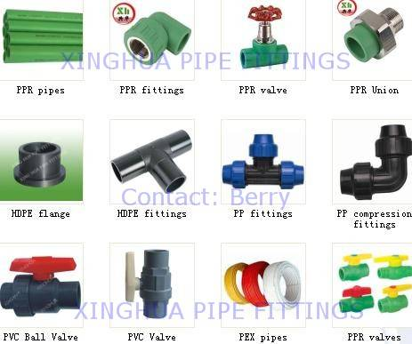 PPR pipe fittings, HDPE pipe fitting, PP compression fittings, PVC ball valve