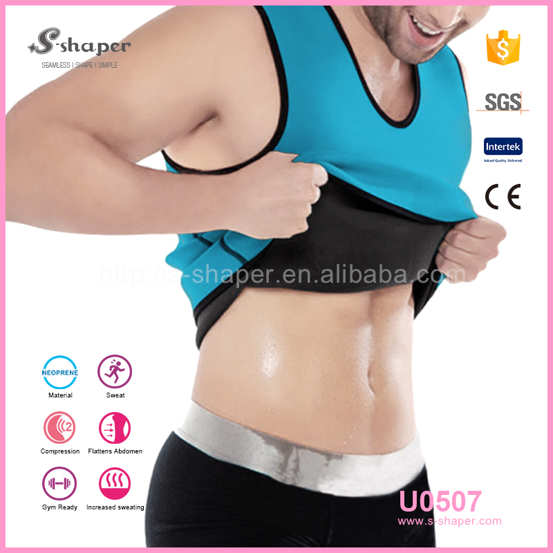 S - SHAPER Fitness Shaper Wear Men Neoprene Ultra Sweat T Shirt U0507