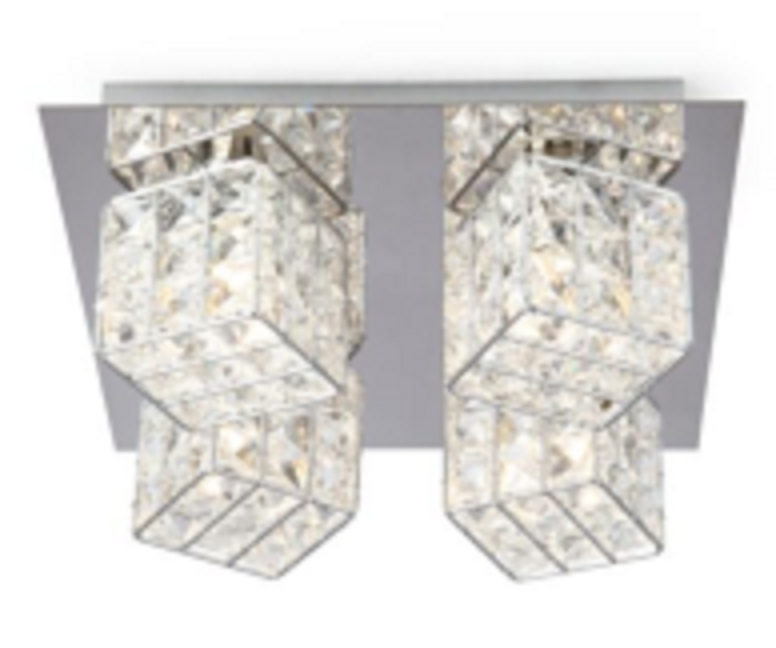 4HEAD G9 IRON SQUARE SHAPE CRYSTAL WALL LIGHT-W58524