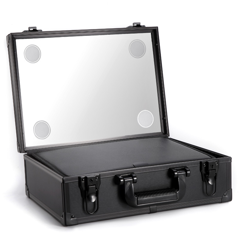 Carrying Aluminum Lighted Makeup Train Case, Handle Travel Beauty Case Cosmetic Box with Lights Mirr
