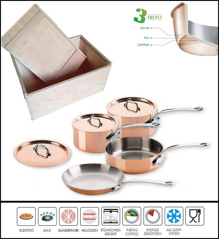 7PCS 3PLY COPPER BODY COOKWARE SET WOODEN CASE PACKING