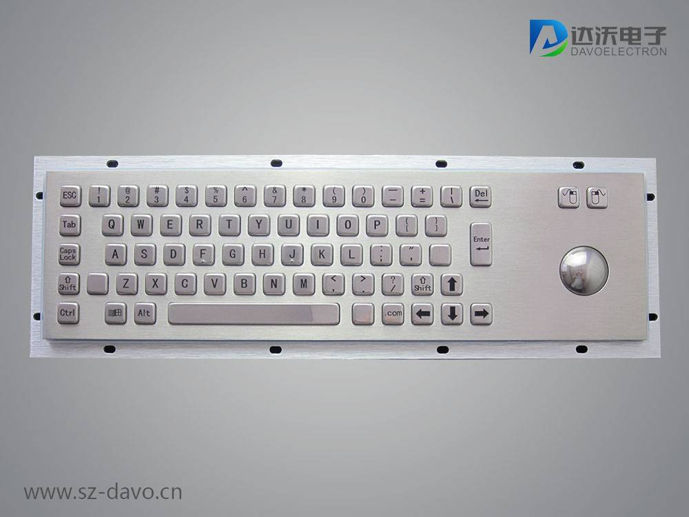 Metal kiosk keyboard with trackball