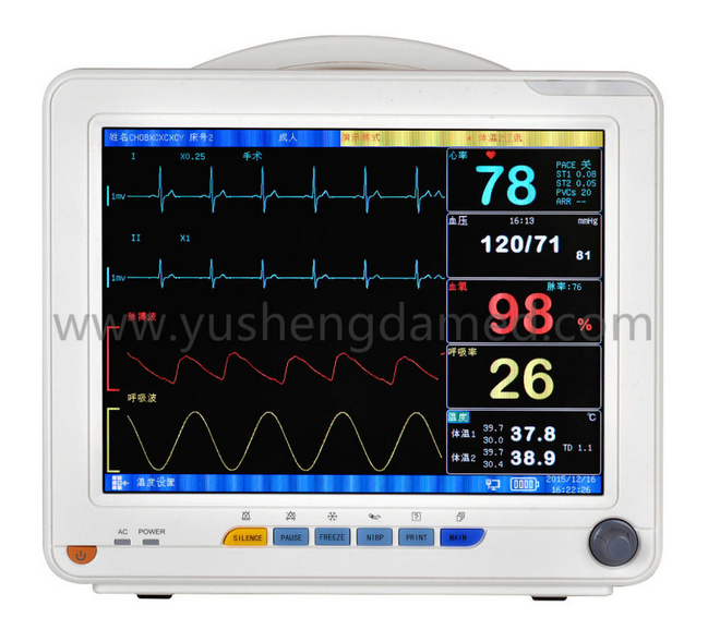 ECG NIBP SpO2 Temp Resp Hospital ICU 12.1 Inch Multi-Parameter Patient Monitor