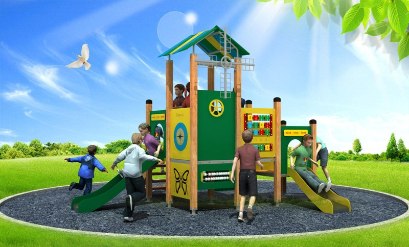 WD-BC206 Newly Design Pe Series Outdoor Playground Equipment, Double Slide
