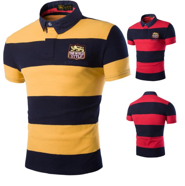 Men's Yarn dye striped cotton spandex polo shirts with custom label