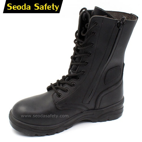 Side zipper military boots