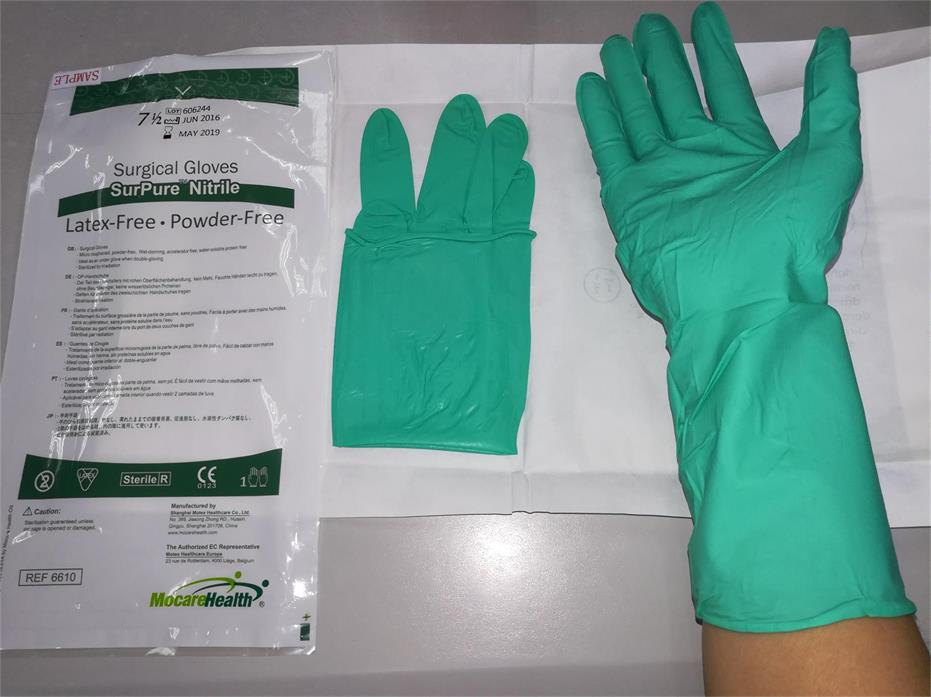 Permeability Resistant Latex Free Nitrile Surgical Gloves