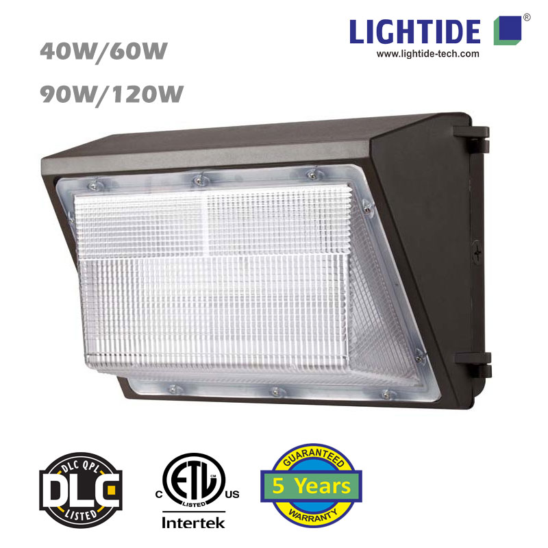 DLC LED Wall Pack Lamp, 120 Watts/14000 lm, ETL_DLC certificate, 5 Years Warranty