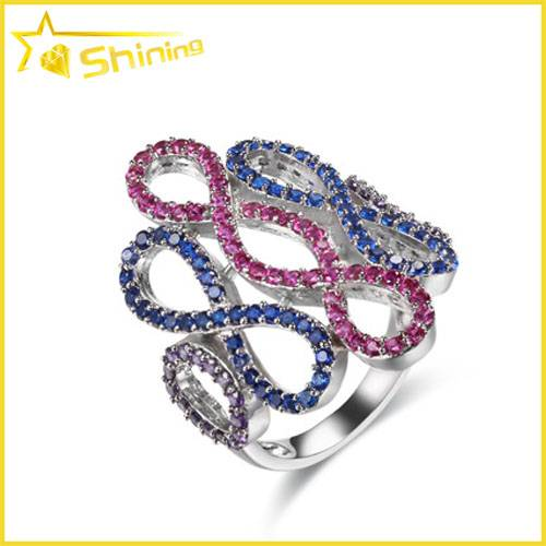 multi color cz zirconia micro setting ring for women
