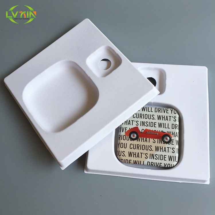 Eco-friendly TV box paper tray white color electronics pulp packaging