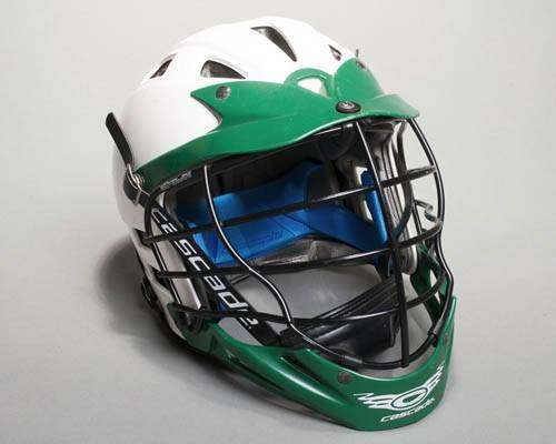 Cascade Lacrosse Green and White Protective Helmet Black Face