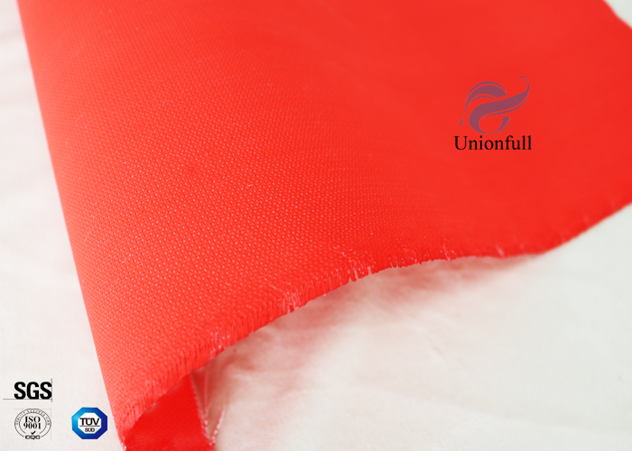 Flame Retardant C-glass Silicone Coated Fiberglass Fabric 590g Red Color