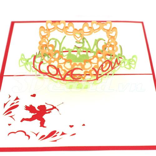 I Love You 3-3d card-love card-handmade card-pop up card-birthday card-valentine's day card-Origamic