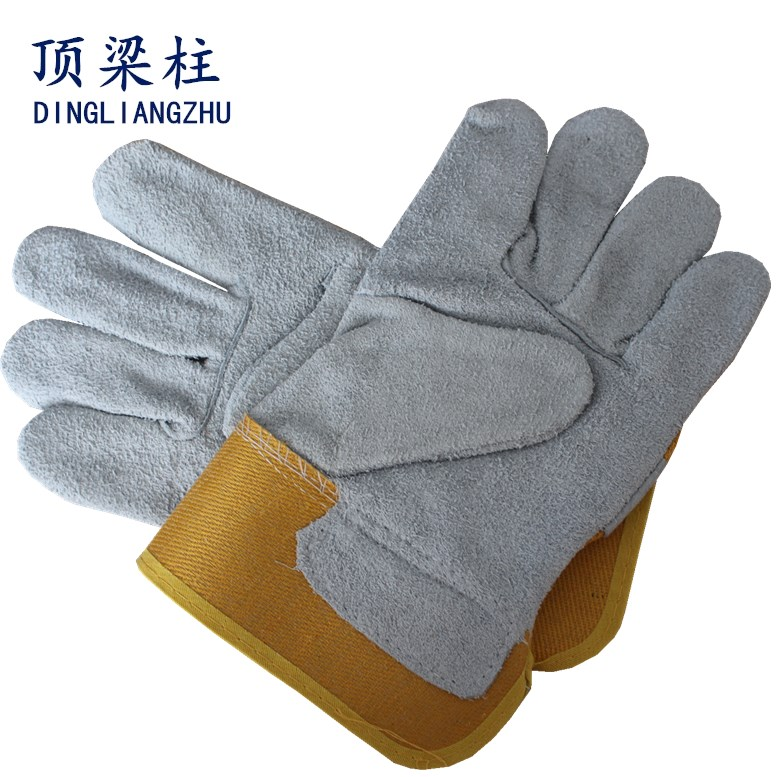 White Leather Work Safety Gloves