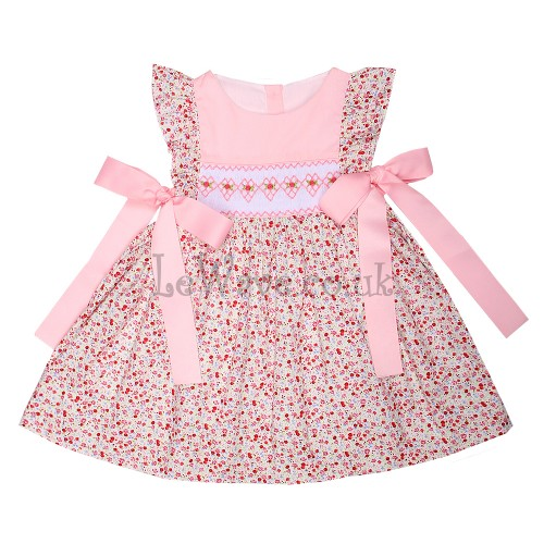 Lovely pink floral smocked dress - LD 188