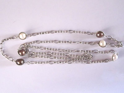 Sterling Silver Jewelry 925 Silver Necklace with Pearl 44 inches (N-034)