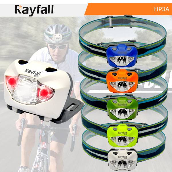 Colorful plastic led headlamp with red and white light sources